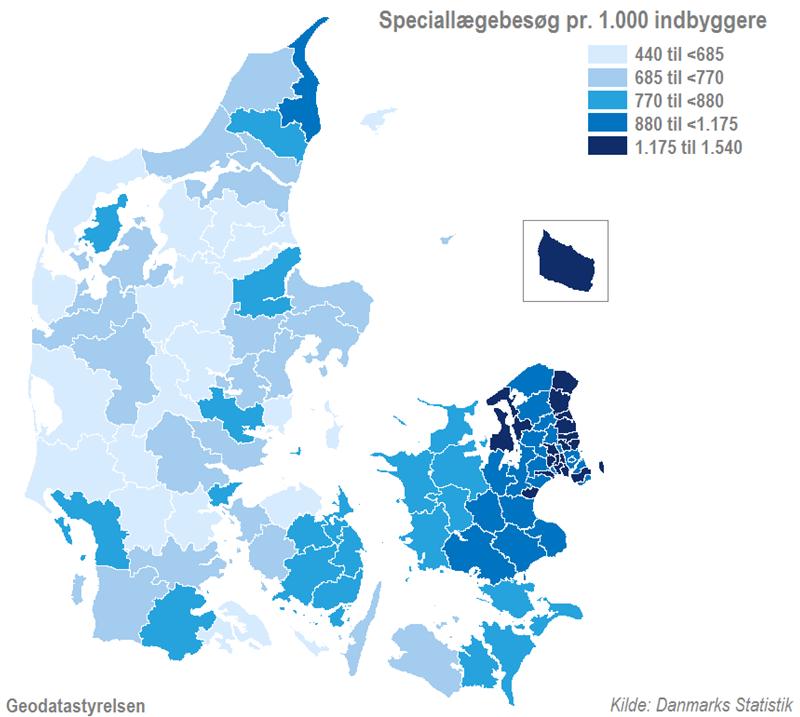 Kort - Indbyggere i Region Hovedstaden besøger speciallægerne oftest
